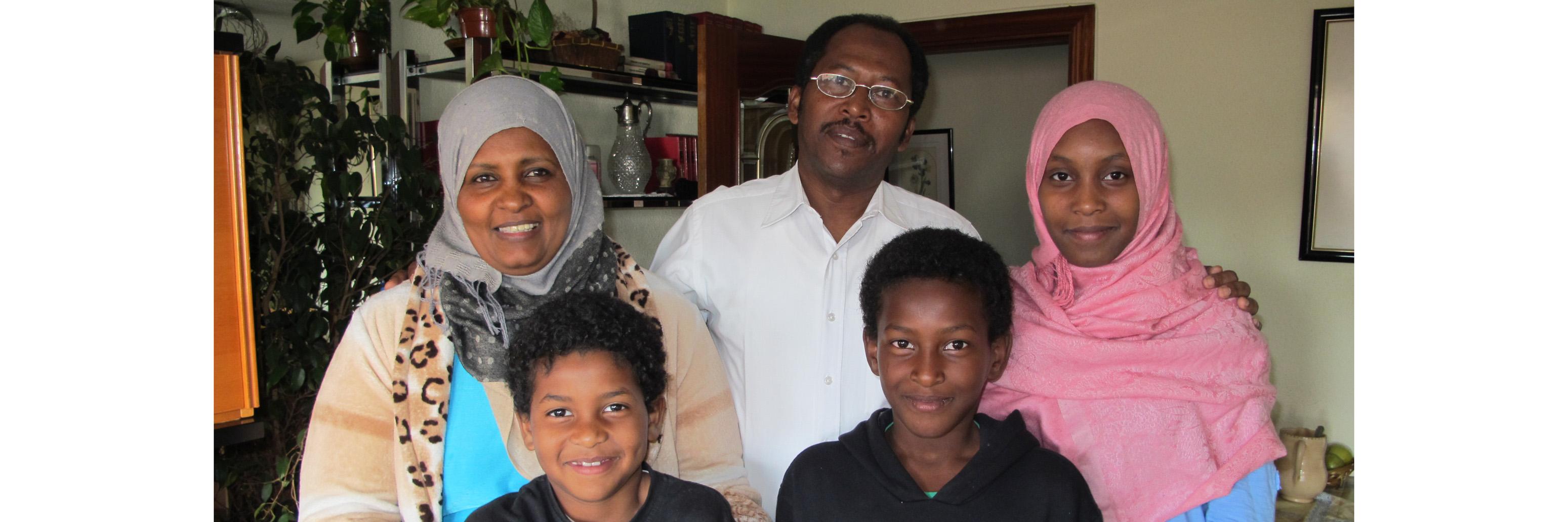 Ismail Ibrahim con su familia